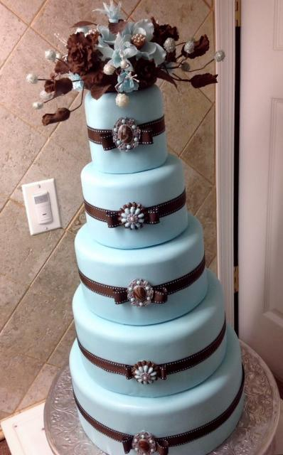5 Tier Round Light Blue Wedding Cake With Brown Bows
