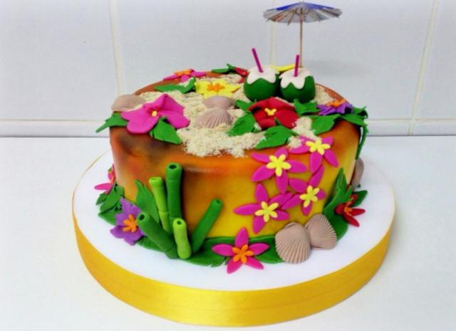 Hawaiian Theme Cake With Sand Shells Coconuts Amp BambooJPG