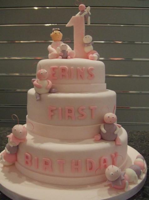 Three Tier Light 1st Birthday Cake With Bugs And