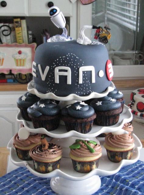 Wall E Theme Cake With Matching Cupcakes Jpg