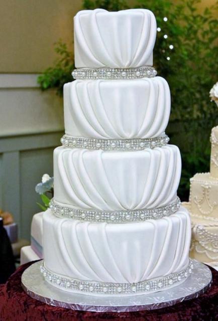 4 Tier Drape Wedding Cake Pearl Crystal BandsJPG Hi Res