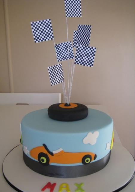 Car Theme Powder Blue Cake With Checker Flags Jpg