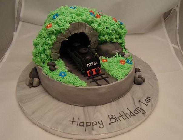 Train Through Tunnel Birthday Cake Jpg