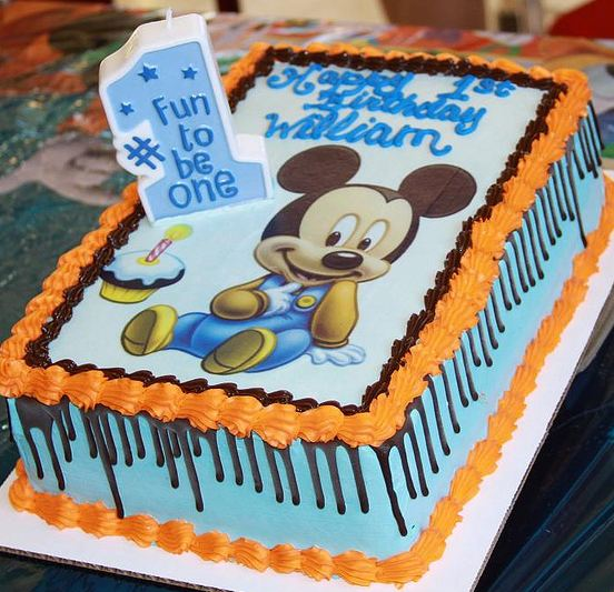 Micky Mouse First Birthday Cake In Powder Blue And