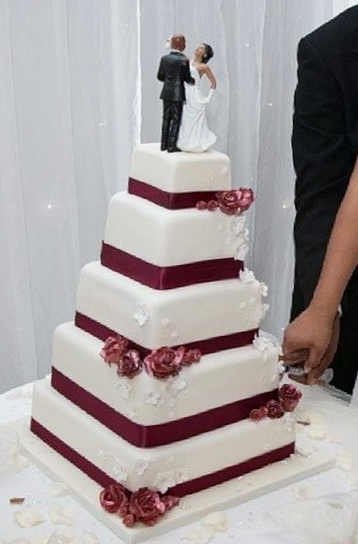 5 Tier Square Wedding Cake With African American Couple