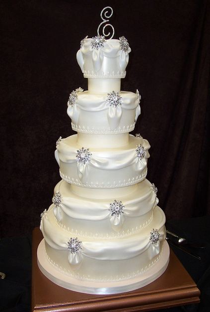 5 Tier Round White Wedding Cake With Drapes And Crystal