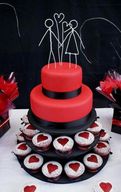 Two Tier Red Wedding Cake With Two Cupcake Tiers And Wired