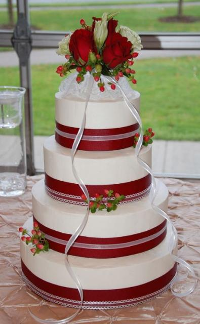4 Tier Round White Wedding Cake With Red Bands And Red