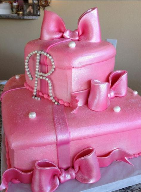 Two Tier Pink Gift Box Cake With Pearl Monogram Jpg 4