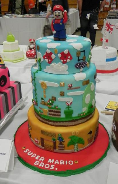 3 Tier Super Mario Cake With Super Mario On TopJPG 1