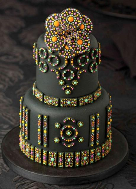 2 Tier Black Cake With Shiny And Colorful Beads Jpg