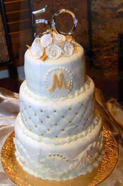 Round White 3 Tier 50th Wedding Anniversary Cake With