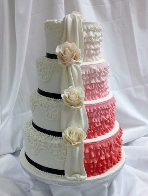 Two Sided 4 Tier Round Wedding Cake With Ruffles Amp Drape
