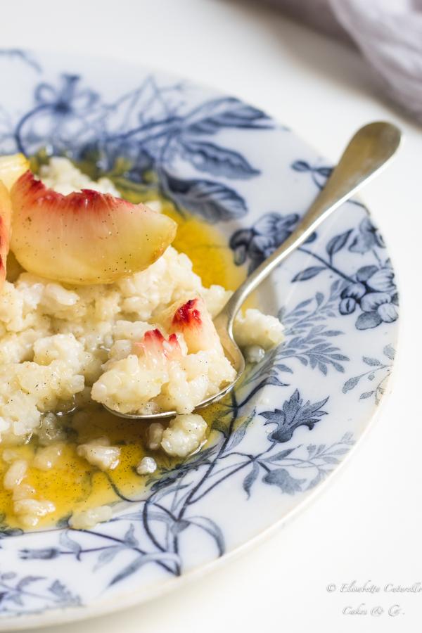 Riso al cocco con Pesca Regina di Londa e miele alla vaniglia per il food contest la Disfida della Regina-2017
