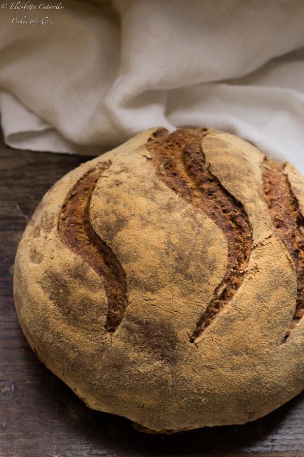 Pane con mix di farine: farina di semola integrale, farro monoccocco, grano duro e tenero