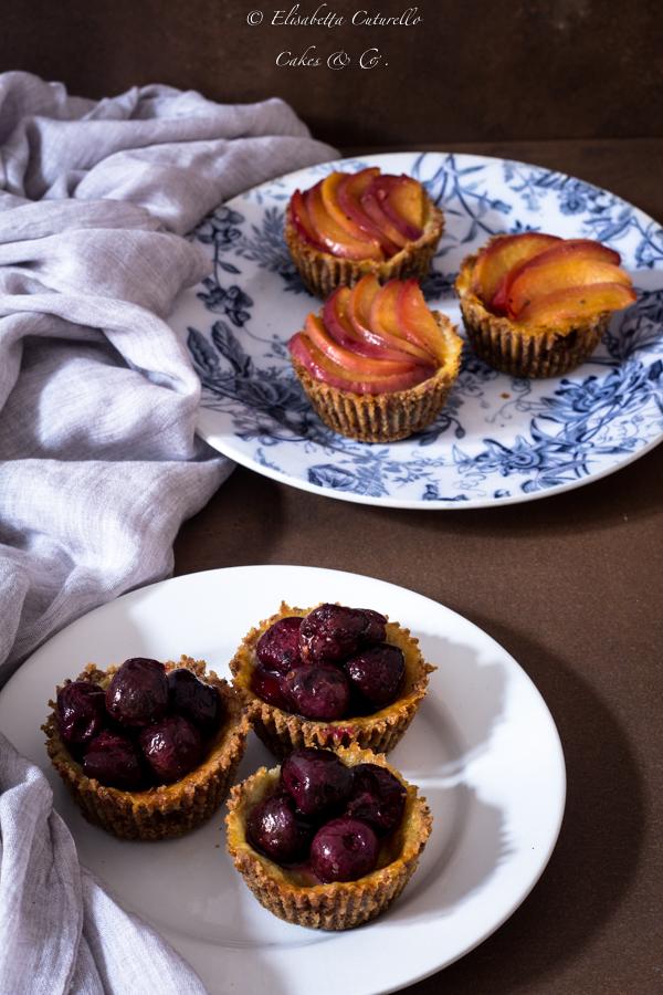 Mini cheesecakes al mascarpone con ciliegie o pesche