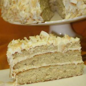 Coconut layer cake with lime cream cheese frosting