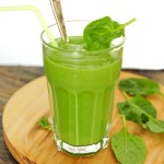 Smoothie with spinach banana avocado and yoghurt