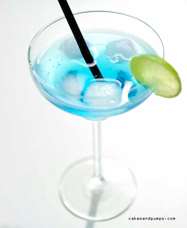 Cocktail Caribbean Blue on a white background for cocktail Friday