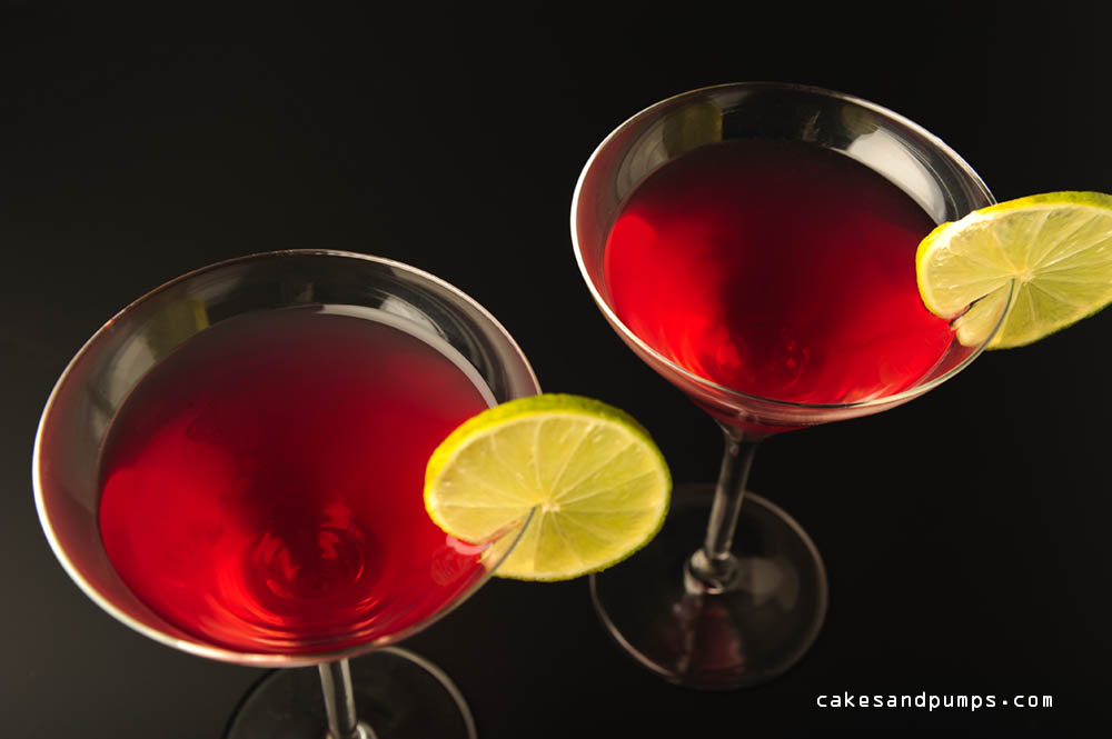 Cosmopolitan cocktail with vodka and triple sec, photographed on black for cocktail friday
