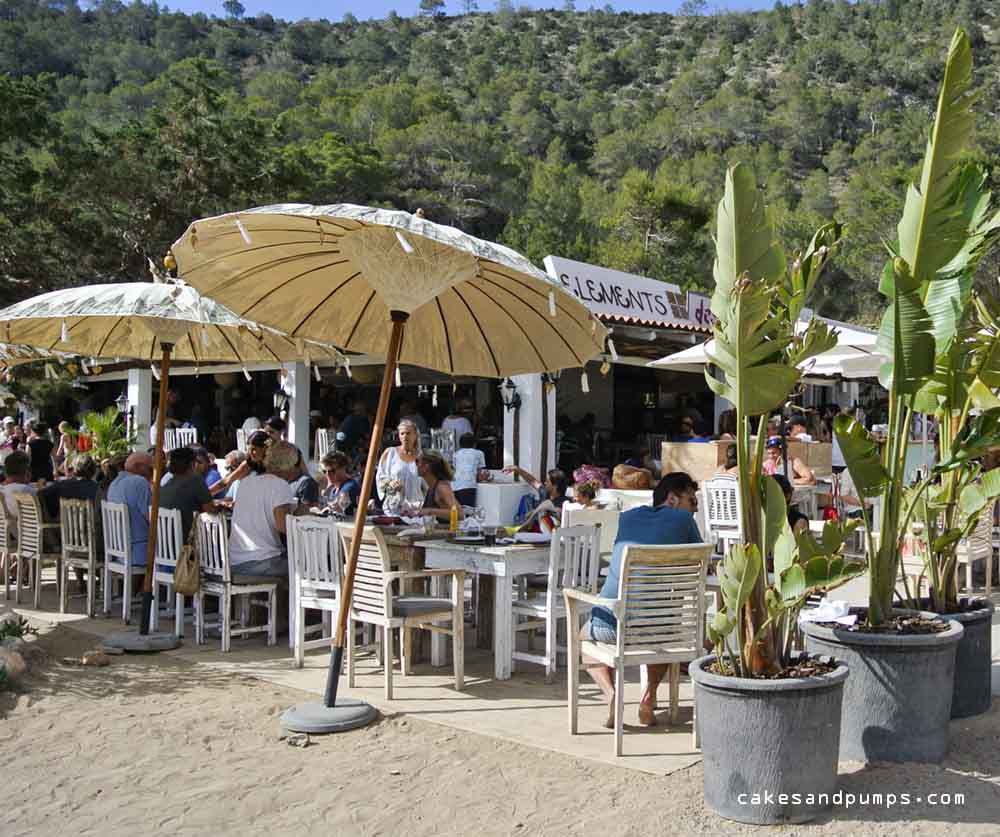 One side of the restaurant Elements on Cala Benirras