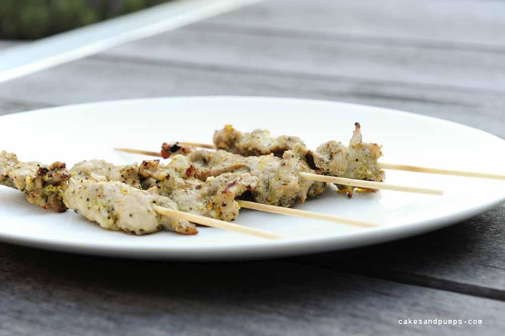 Pork tenderloin skewers grilled on the bbq