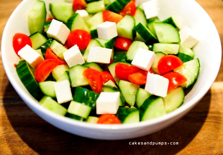 Salad with cucumber tomatoes feta