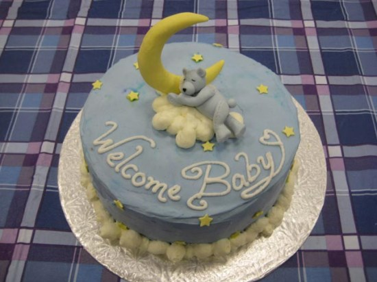 Blue teddy bear baby shower cake.
