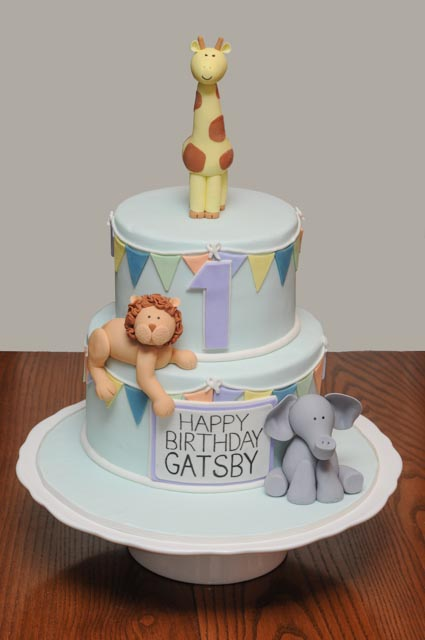 Giraffe, Elephant and Lion Cake with Bunting