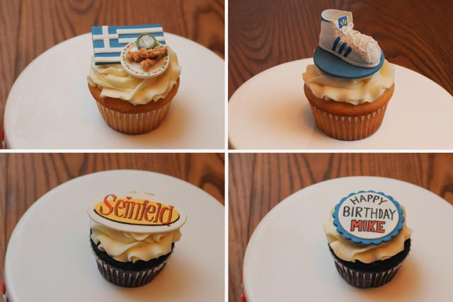 Cupcakes with Greek food, Adidas shoe, Seinfeld logo, Happy Birthday