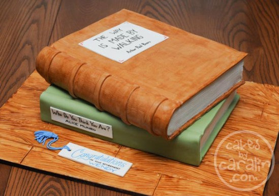 Hardcover library book cake