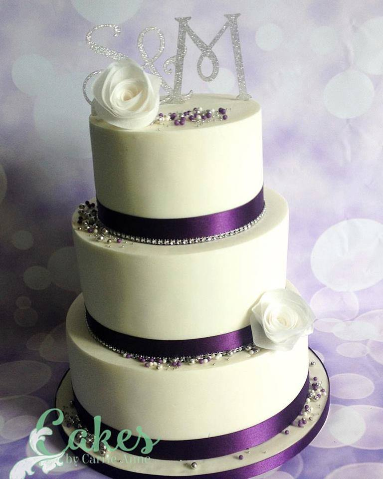 Purple And White Wafer Paper Rose Wedding Cake Cakes By Carrie Anne