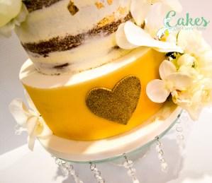 Semi Naked Glitter GSemi Naked Gold Orchid Peony Wedding Cake