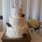 Buttercream texture cake, simple wedding cake Portland, carved heart tiered wedding cake, chocolate pinecone cake