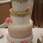 Gold, coral wedding cake, ruffled wedding cake, fondant cake portland, oregon wedding cakes