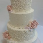 piped lace cake, gumpaste rose and hydrangea cake, buttercream cake