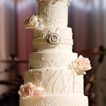 Lace wedding cakes, gumpaste flower wedding cake, beautiful wedding cake, monogram wedding cake, rose wedding cake