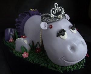 3D birthday cake, animal cake, girl birthday cake portland, purple hippo cake, custom fondant cake