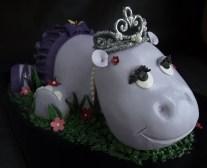 3D birthday cake, animal cake, girl birthday cake portland, purple hippo cake, custom fondant cake