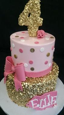 Glamorous birthday cake, girl birthday cake, pretty birthday cake portland, polka dot cake, sparkling cake