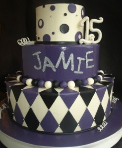 teen birthday cake, girl teen cake, diamond cake, harlequin cake tiered, purple black silver cake, festival cake