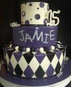 teen birthday cake, girl teen cake, diamond cake, harlequin cake tiered, purple black silver cake, festival cake