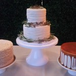 Caramel drip cake, ruffle cake, swiped buttercream cake, cake with greenery, Left Bank Annexe dessert table
