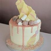 Chocolate shard and truffle drip cake