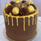 Gold Ferrero Rocher drip cake