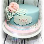 Pearls & Roses 100th Birthday Cake