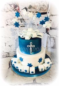 Navy & White Christening Cake
