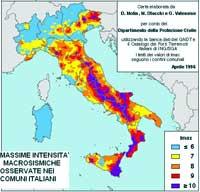 Carta elaborata da D. Molin, M. Stucchi e G. Valensise per conto del Dipartimento della Protezione Civile utilizzando la banca dati GNDT e il Catalogo dei Forti Terremoti Italiani di ING/SGA. I limiti dei valori di Imax seguono i confini comunali. Aprile 1996