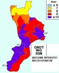 Calabria. Massime intensità microsismiche