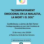 """Conferència a càrrec de Bel Ferrer """"Acompanyament emocional en la malaltia, la mort i el dol"""" (12 de març a LA UNIÓ)"""